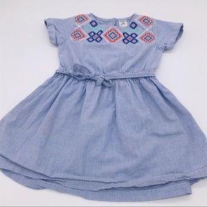 Carter's blue embroidered tee shirt dress cotton